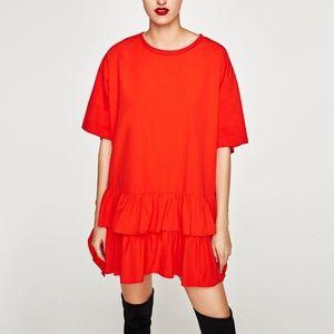 NWT Zara AW17 Size XS Red Poplin Dress Ruffle